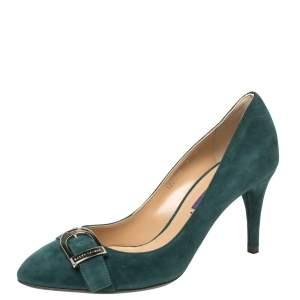 Ralph Lauren Dark Green Suede Buckle Embellished Pumps Size 37