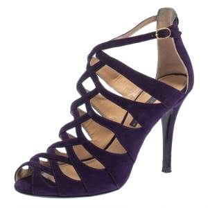 Ralph Lauren Collection Purple Suede Caged Ankle Strap Sandals Size 37