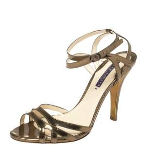Ralph Lauren Collection Metallic Bronze Leather Ankle Strap Sandals Size 37