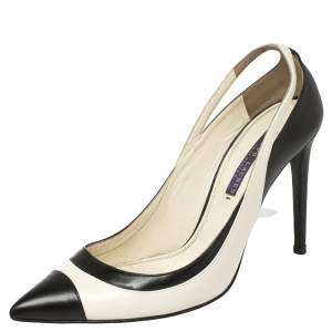 Ralph Lauren Collection White/Black Leather Pointed Toe Pumps Size 39