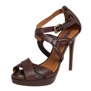 Ralph Lauren Collection Brown  Leather Ankle Strap  Sandals Size 40.5