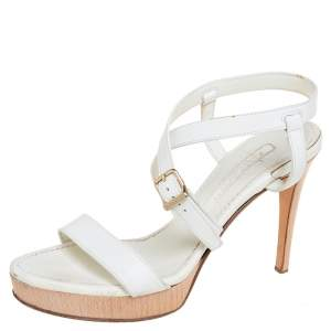Ralph Lauren Collection White Leather Open Toe Ankle Strap Sandals Size 37.5