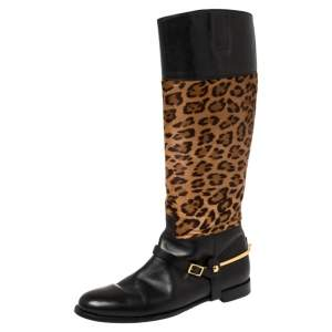 Ralph Lauren Collection Brown/Black Leopard Print Pony Hair and Leather Riding Knee High Boots Size 38.5