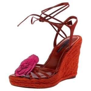 Ralph Lauren Collection Orange Leather Espadrille Wedge Sandals Size 38