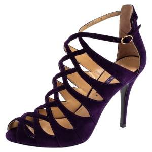 Ralph Lauren Collection Purple Suede Caged Ankle Strap Sandals Size 39.5