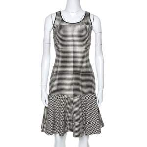 Ralph Lauren Monochrome Houndstooth Merino Wool Lexi Dress M