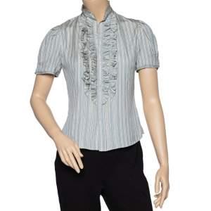 Ralph Lauren Light Blue Striped Silk Ruffled Neck Detail Shirt S