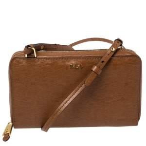 Ralph Lauren Brown Textured Leather Crossbody Bag