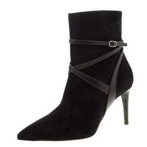 Ralph Lauren Black Suede Buckle Detail Ankle Boots Size 39