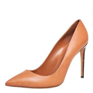 Ralph Lauren Orange Leather Pointed Toe Pumps Size 40.5