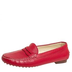 Ralph Lauren Red Leather Penny Slip On Loafers Size 39