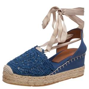 Ralph Lauren Blue Crochet Fabric Uma Espadrille Wedge Ankle Wrap Platform Sandals Size 41