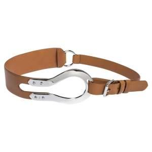 Ralph Lauren Brown Leather Horseshoe Buckle Waist Belt 95CM
