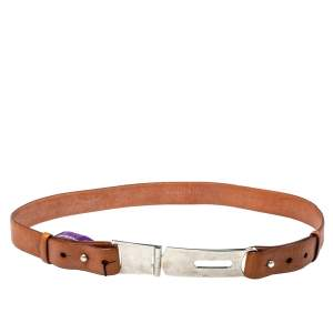 Ralph Lauren Tan Leather Hinge Pull Bar Belt 90CM