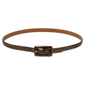 Ralph Lauren Metallic Bronze Python Slim Belt 85CM