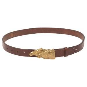 Ralph Lauren Brown Leather Double Horse Head Buckle Belt 90CM