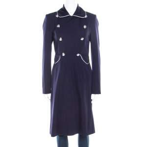 Ralph Lauren Navy Blue Logo Button Detail Double Breasted Coat S