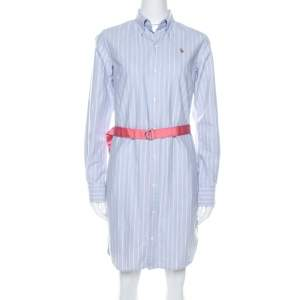 Ralph Lauren Blue Striped Oxford Cotton Belted Shirt Dress M