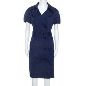 Ralph Lauren Navy Blue Stretch Cotton Shirt Dress L
