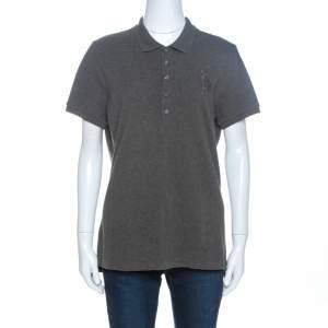 Ralph Lauren Grey Pique Cotton Skinny Polo T-Shirt XL