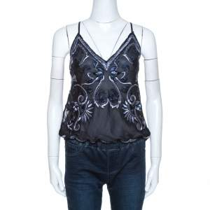 Ralph Lauren Navy Blue Embroidered Silk Drawstring Waist Detail Camisole M