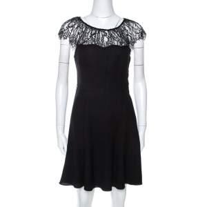 Polo by Ralph Lauren Black Crepe Lace Trim Detail Dress S