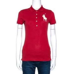 Ralph Lauren Brick Red Cotton Pique Bead Embroidered Logo Polo T-Shirt S