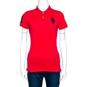 Ralph Lauren Red Cotton Pique Logo Embroidered Polo T-Shirt M