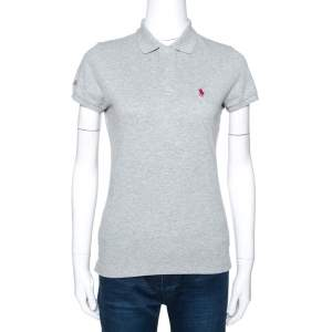 Ralph Lauren Grey Cotton Pique Harvard Skinny Polo T-Shirt S