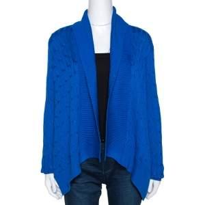 Ralph Lauren Blue Cable Knit Open Front Cardigan M