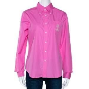 Ralph Lauren Pink Cotton Button Down Fitted Shirt L