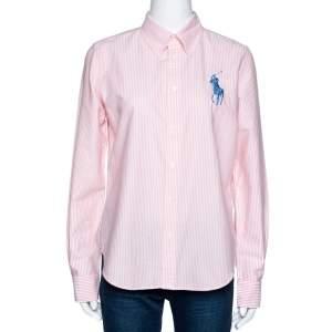 Ralph Lauren Pink & White Striped Cotton Super Slim Fit Shirt L