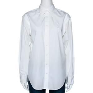 Ralph Lauren White Cotton Relaxed Fit Button Front Shirt L