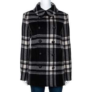 Ralph Lauren Monochrome Checked Cashmere & Wool Coat M