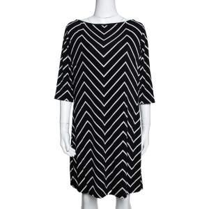 Ralph Lauren Monochrome Zig Zag Print Stretch Jersey Shift Dress L