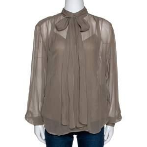 Ralph Lauren Khaki Silk Bow Tie Front Sheer Blouse S
