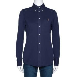 Ralph Lauren Navy Blue Logo Embroidered Knit Oxford Fitted Shirt M