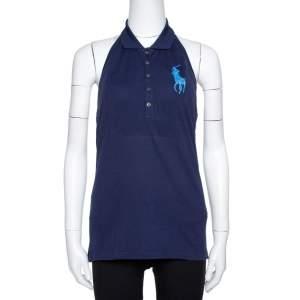 Ralph Lauren Navy Blue Cotton Halter Neck Polo T-Shirt L