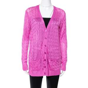Ralph Lauren Pink Knit Button Front Cardigan M