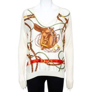 Ralph Lauren Cream Bridle Print Silk & Knit Jumper L