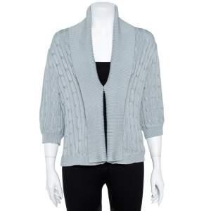 Ralph Lauren Pale Blue Cotton Cable Knit Shawl Lapel Cardigan L