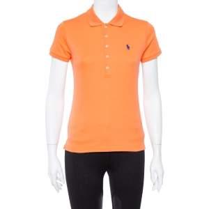 Ralph Lauren Orange Cotton Jersey Polo T-Shirt M