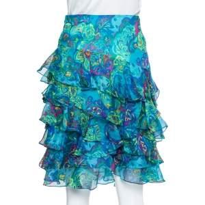 Ralph Lauren Blue Printed Silk Ruffle Detail Short Skirt M