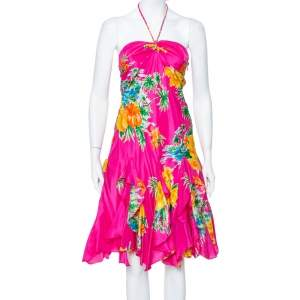Ralph Lauren Magenta Tropical printed Silk Halter Neck Mini Dress S