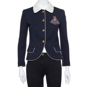 Ralph Lauren Navy Blue Wool Fitted Cropped Jacket M