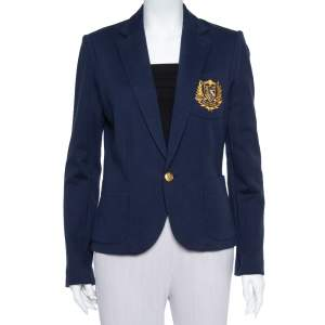 Ralph Lauren Navy Blue Knit Logo Embroidered Pocket Detail Blazer L