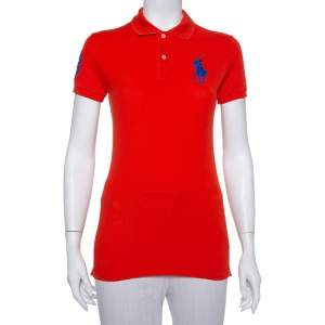 Ralph Lauren Orange Cotton Pique The Skinny Polo T-Shirt S
