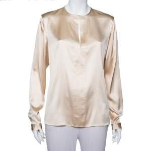 Ralph Lauren Cream Silk Long Sleeve Top L