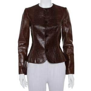 Ralph Lauren Brown Leather Roundneck Jacket M