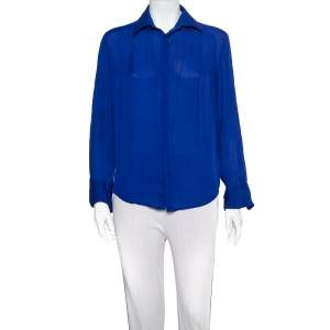 Ralph Lauren Royal Blue Silk Button Front Shirt M